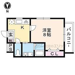 阪急嵐山線 上桂駅 徒歩10分の賃貸マンション 2階1Kの間取り