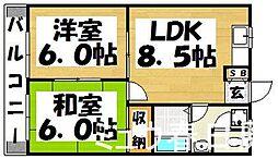 福岡県春日市紅葉ヶ丘西6丁目の賃貸アパートの間取り