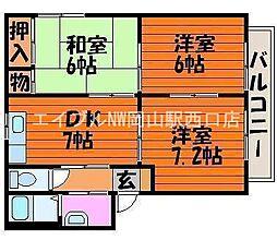岡山県岡山市中区兼基丁目なしの賃貸アパートの間取り