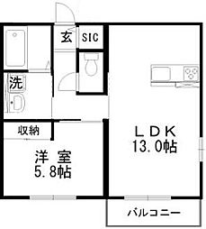 JR山陽本線 万富駅 5.1kmの賃貸アパート 1階1LDKの間取り