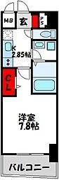 福岡市地下鉄空港線 東比恵駅 徒歩10分の賃貸マンション 2階1Kの間取り