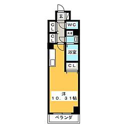 (仮称)元今泉マンション 8階1Kの間取り