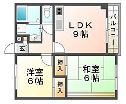兵庫県尼崎市御園1丁目の賃貸マンションの間取り