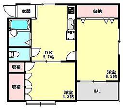 兵庫県神戸市北区鈴蘭台北町4丁目の賃貸アパートの間取り