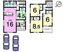 土地面積:41.41坪。角地の物件です。並列で駐車2台可能。大型車でも安心です。