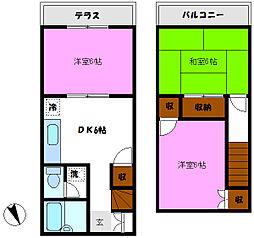 [テラスハウス] 千葉県松戸市幸谷 の賃貸【/】の間取り