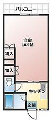 フジコーポ岩戸[203号室]の間取り