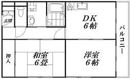ハイタウン日吉コーポ 1階2DKの間取り