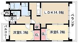 愛知県名古屋市緑区有松町大字桶狭間字幕山の賃貸マンションの間取り
