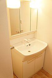 ボウルの大きな洗面化粧台。洗濯物の手洗いもやりやすい