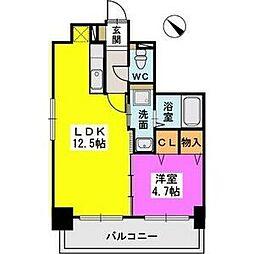 ル・セレクト山王 3階1LDKの間取り