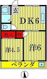 ハイツオオクマA[2階]の間取り