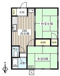 明鈴荘[102号室]の間取り