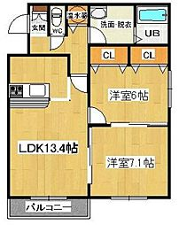 ナチュール筑紫野[3階]の間取り