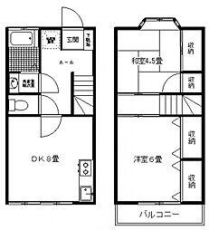 [テラスハウス] 神奈川県川崎市多摩区栗谷2丁目 の賃貸【/】の間取り