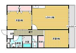 大阪府八尾市神宮寺5丁目の賃貸マンションの間取り