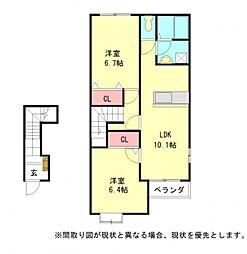 愛知県一宮市奥町字川崎の賃貸アパートの間取り