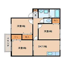 奈良県大和高田市南陽町の賃貸アパートの間取り