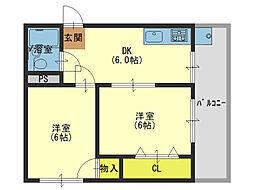 江見マンション[305号室]の間取り