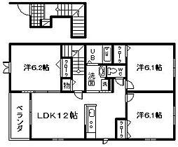大阪府岸和田市磯上町5丁目の賃貸アパートの間取り