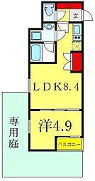 ビバリーホームズ赤塚公園II 1階1LDKの間取り