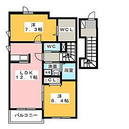 モン・ソレイユB[2階]の間取り