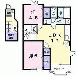 千葉県大網白里市みずほ台1丁目の賃貸アパートの間取り