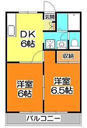 東京都東久留米市浅間町2丁目の賃貸アパートの間取り