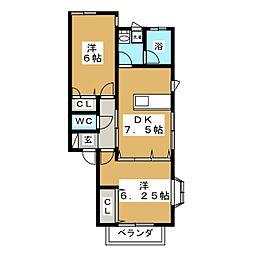 フレール東勝山[2階]の間取り