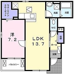 JR山陽本線 西明石駅 バス16分 出合橋下車 徒歩4分の賃貸アパート 1階1LDKの間取り