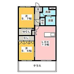 メイプルタウンB[2階]の間取り