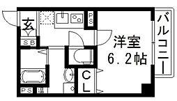 アームスコート・若江岩田 1階1Kの間取り