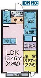 JR奥羽本線 山形駅 バス10分 小白川至誠堂病院前下車 徒歩1分の賃貸アパート 1階1LDKの間取り