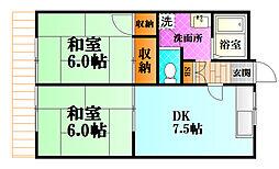 広島高速交通アストラムライン 白島駅 徒歩13分の賃貸アパート 1階2DKの間取り