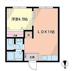 田中コーポ A棟[1階]の間取り