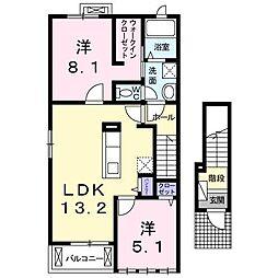 グランコートSKII 2階2LDKの間取り