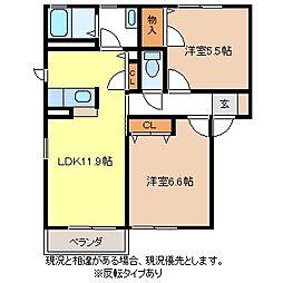 メゾンソレイユB棟[1階]の間取り
