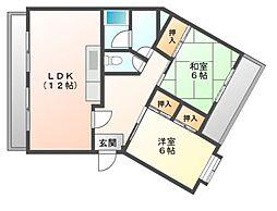 愛知県名古屋市天白区向が丘3丁目の賃貸マンションの間取り