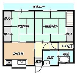 福岡県北九州市小倉北区熊本3丁目の賃貸マンションの間取り