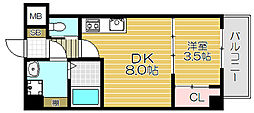 Osaka Metro谷町線 守口駅 徒歩5分の賃貸マンション 5階1DKの間取り