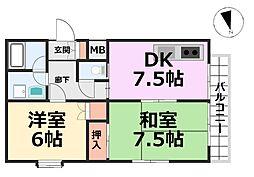 ラフォーレ七松[2階]の間取り
