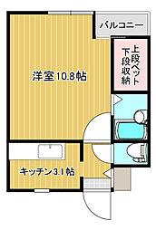 JR鹿児島本線 西牟田駅 徒歩25分の賃貸アパート 3階1Kの間取り
