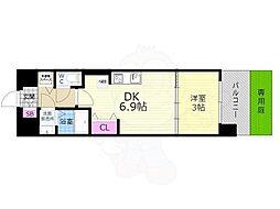 京都市営烏丸線 九条駅 徒歩7分の賃貸マンション 1階1DKの間取り
