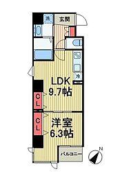 エムズサニーパレス月島 5階1LDKの間取り