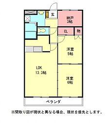 愛知県江南市飛高町泉の賃貸マンションの間取り