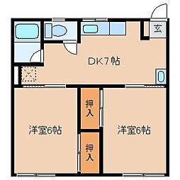 長野県岡谷市長地片間町1丁目の賃貸アパートの間取り