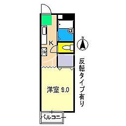 ディライト弥生I[1階]の間取り