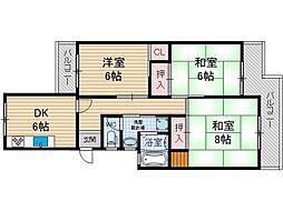 上穂積住宅5棟[4階]の間取り