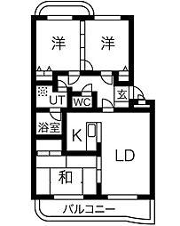 グローリィ平子西[2階]の間取り