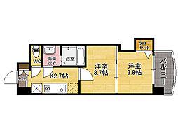 福岡県福岡市博多区堅粕2丁目の賃貸マンションの間取り